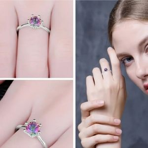 Mystic Fire Topaz Sterling Silver Ring